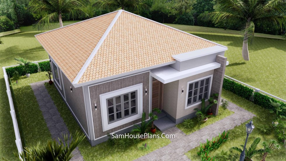Small House Plan 8x9 with 2 Bedrooms Hip Roof Front 3d roof