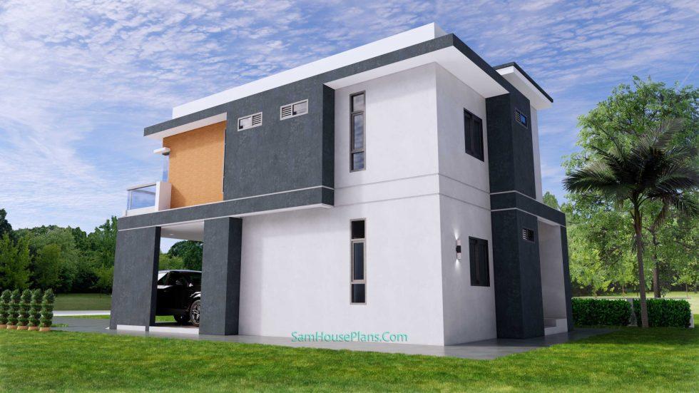 25x38 House Plans 3D 4 Beds Full Plans Flat Roof 5