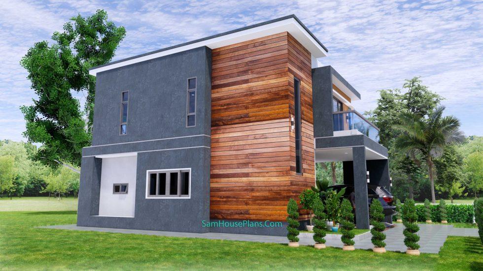 25x38 House Plans 3D 4 Beds Full Plans Flat Roof 8