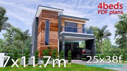 25x38 House Plans 3D 4 Beds Full Plans Flat Roof