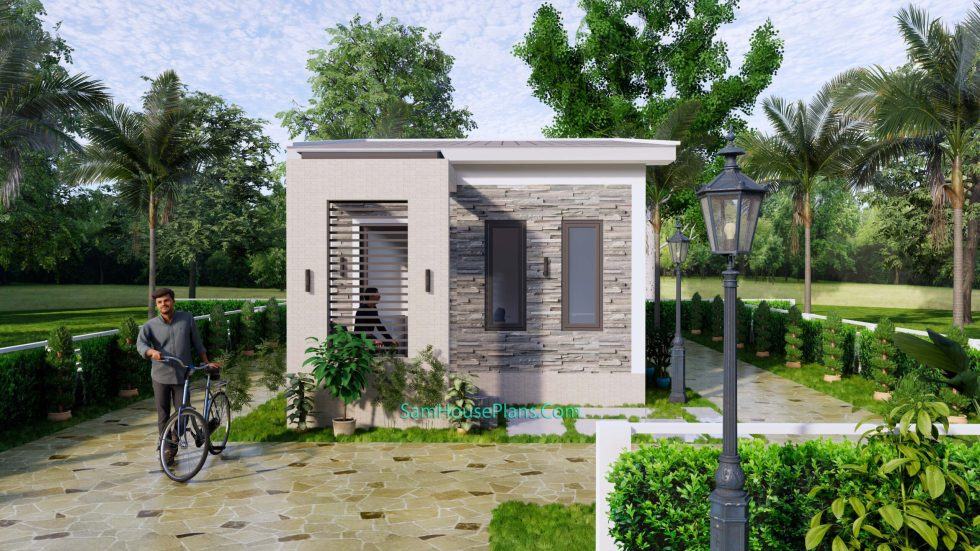 4.5x12 Small House Plans 2 Beds Gable Roof Full Plans 2