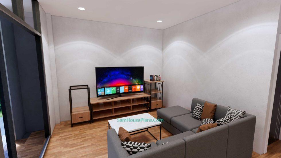 House Design Plans 7x11.7 Shed Roof 4 Beds PDF Full Plans Interior Living room 1