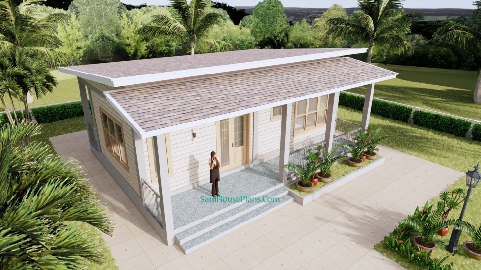 Small House Plans 32x16 Shed Roof 1 Bed PDF Plan 3