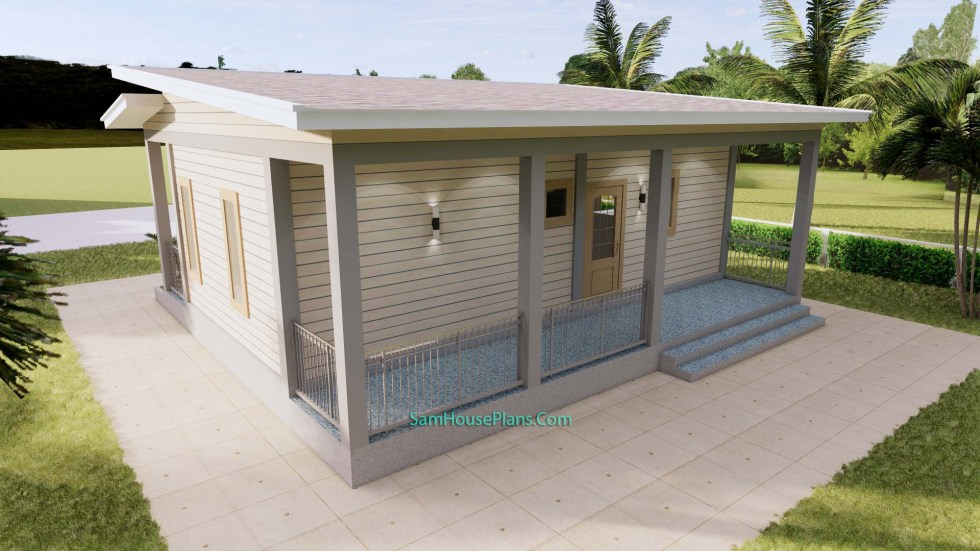 Small House Plans 32x16 Shed Roof 1 Bed PDF Plan 4