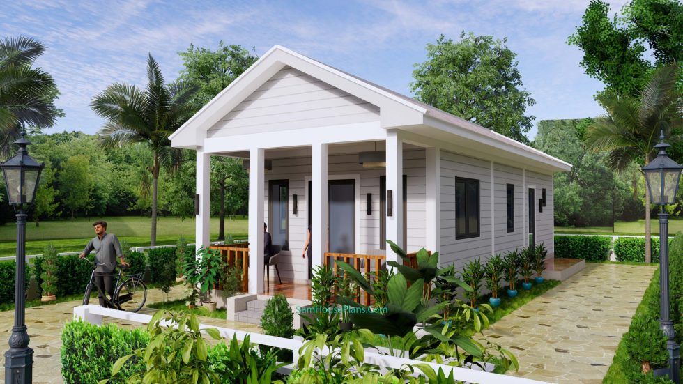 Small House Plans 4.5x12 Meters 2 Beds Gable Roof Style 3