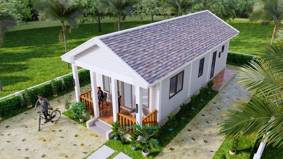 Small House Plans 4.5x12 Meters 2 Beds Gable Roof Style 4