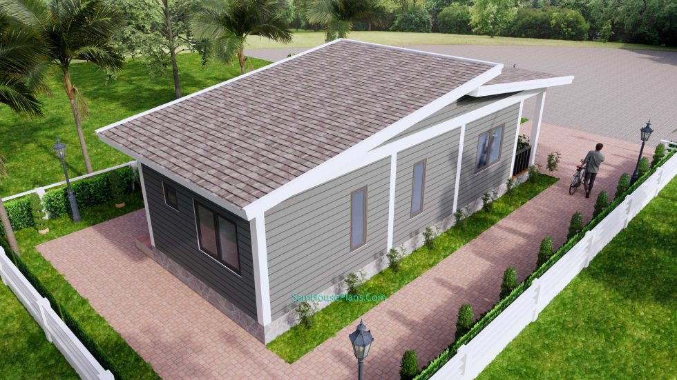 4.5x12 Small House Design 2 Bedrooms Shed Roof 7