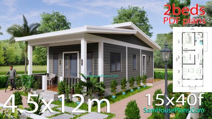 4.5x12 Small House Design 2 Bedrooms Shed Roof