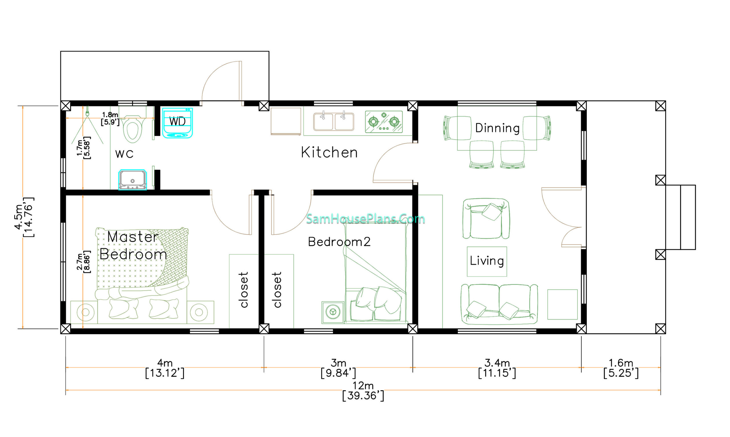 4.5x12 Small House Design 2 Bedrooms Shed Roof Layout floor plan