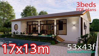 House Design 3D 17x13 Meters 221 sqm 3 Bedrooms