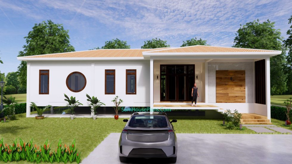 House Design Plan 17x13 with 3 Bedrooms 53x43 Feet 2