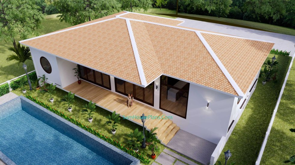 House Design Plan 17x13 with 3 Bedrooms 53x43 Feet 6