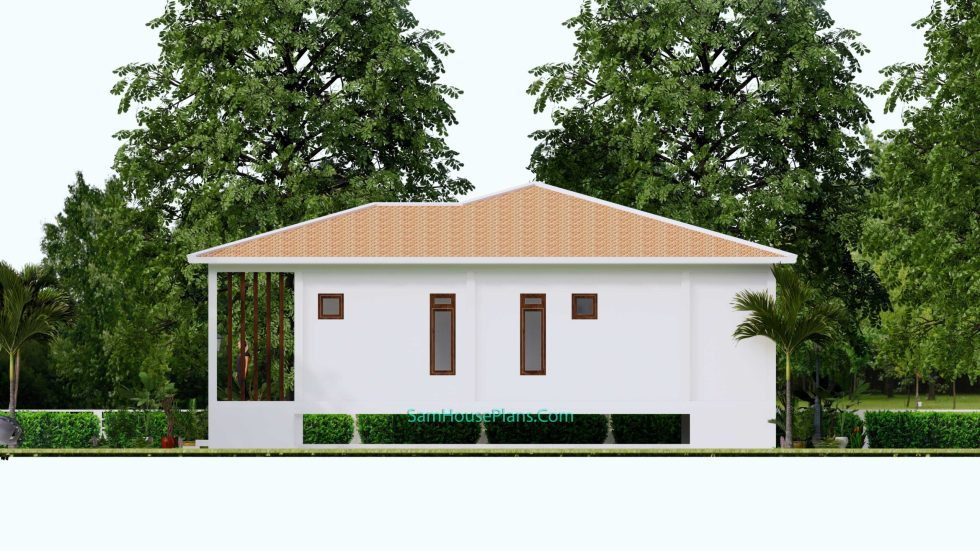 House Design Plan 17x13 with 3 Bedrooms 53x43 Feet Right view