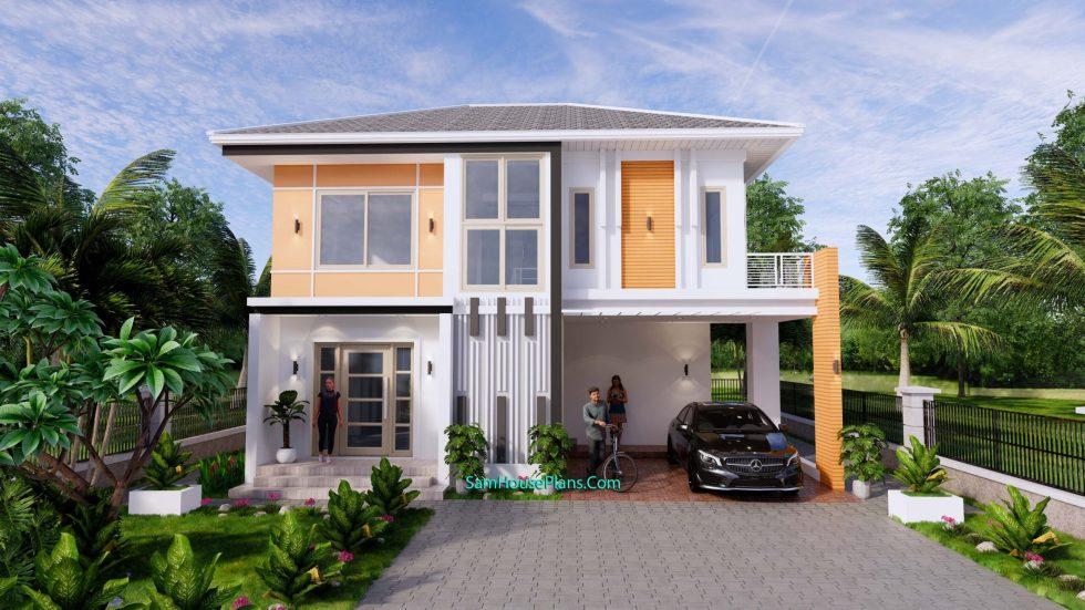 House Design Plans 10.5x8 Meters 4 Bedrooms 2
