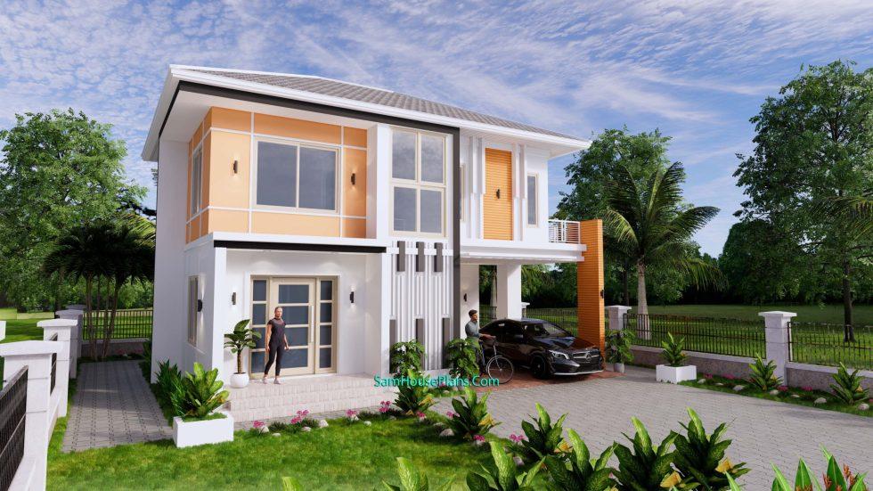 House Design Plans 10.5x8 Meters 4 Bedrooms 3