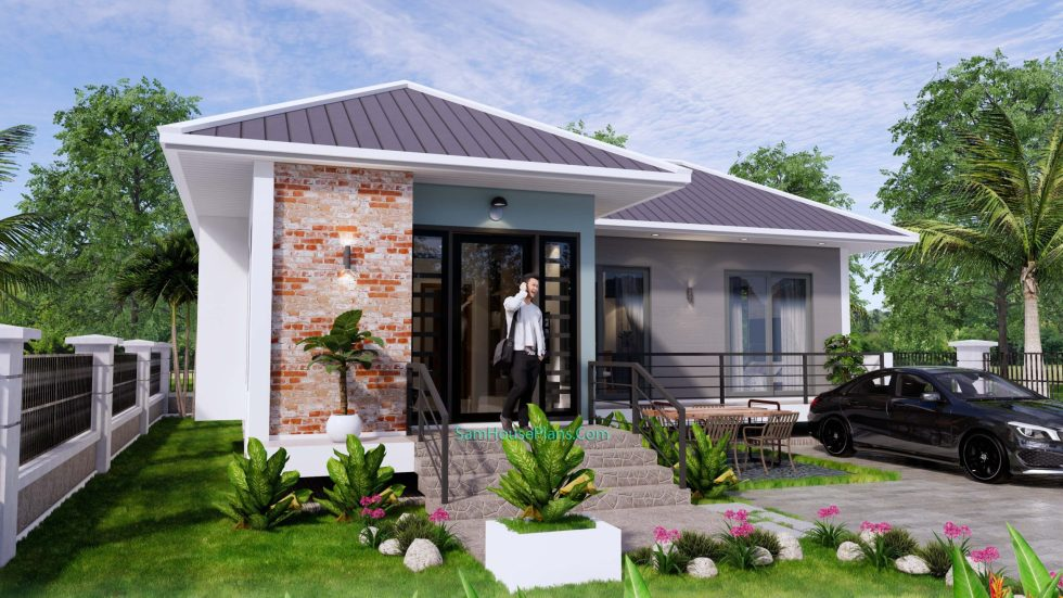 House Design Plans 11x10.5 Hip Roof 2 Bedrooms 4