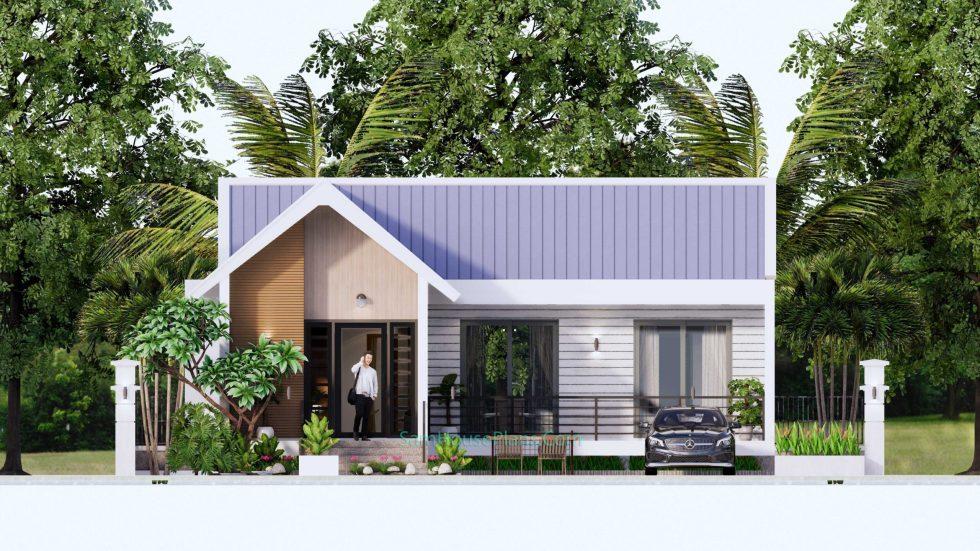 Modern House Design Plan 11x9 meter 3 Bedrooms Front elevation