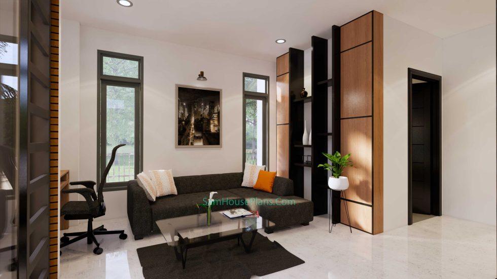 Modern House Design Plan 11x9 meter 3 Bedrooms Living room 3