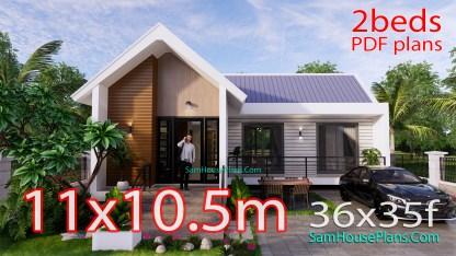 Modern House Design Plan 11x9 meter 3 Bedrooms