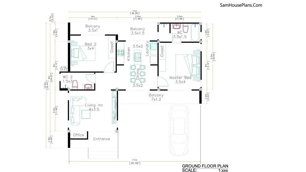 Modern House Plans 11x10.5 floor plan