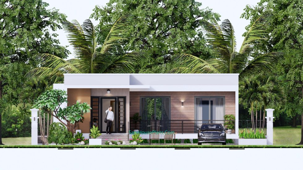 Modern House Plans 11x10.5 Flat Roof Front elevation