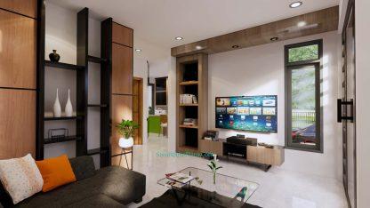 Modern House Plans 11x10.5 Flat Roof Living room 1