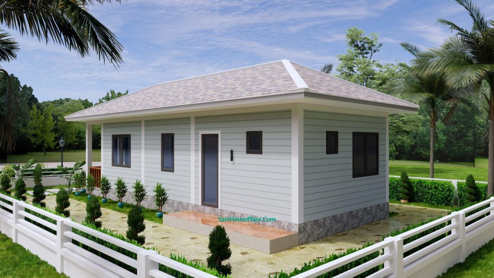 Small House Design 4.5x12 Meters 2 Beds Hip Roof 5