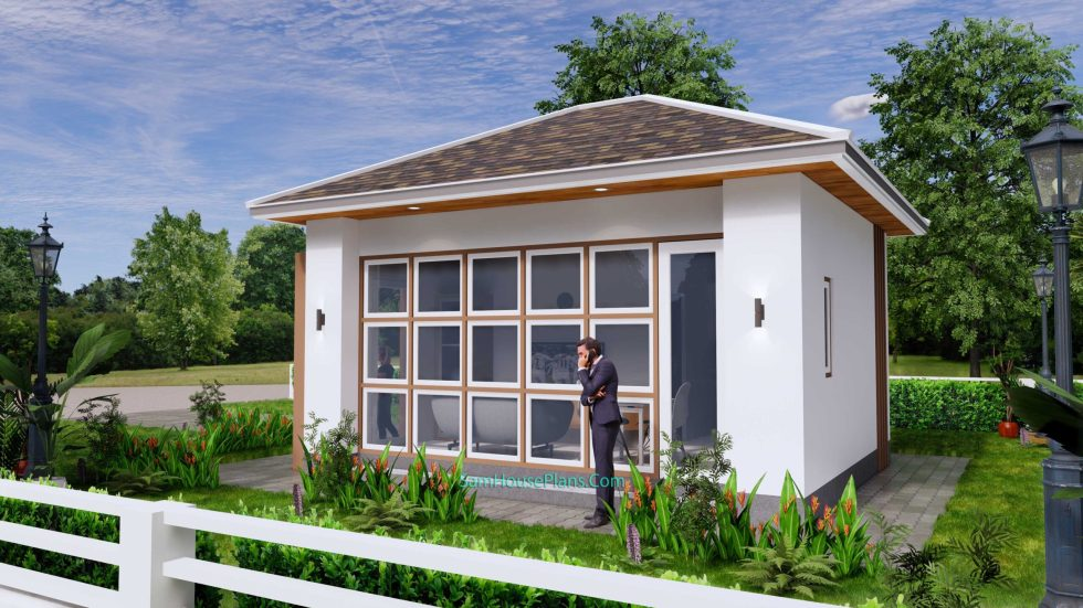 Small House Plans 5x6 M Hip Roof One Bedroom 7