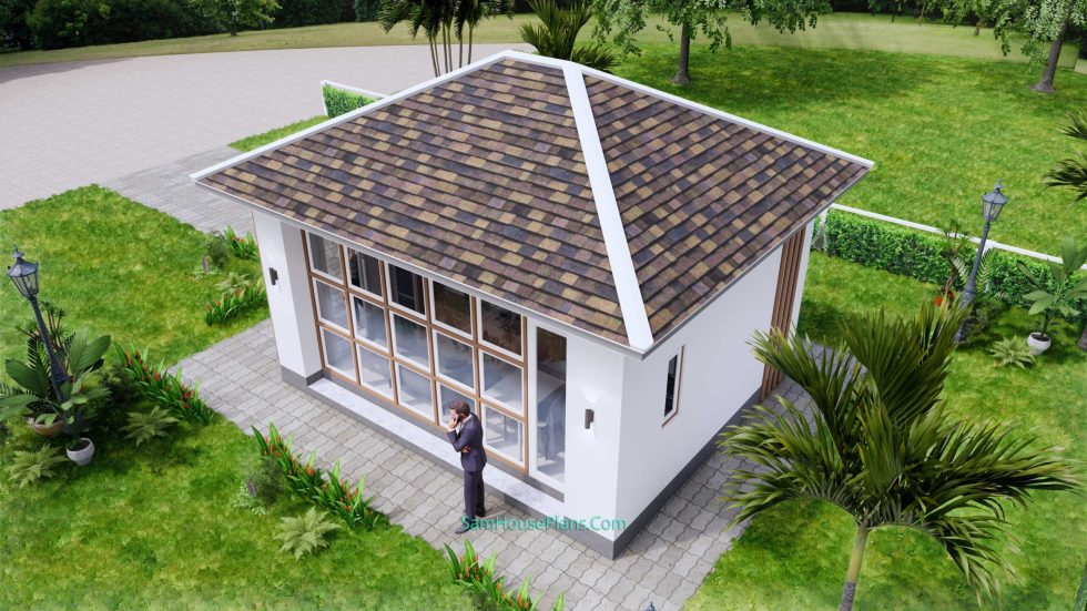 Small House Plans 5x6 M Hip Roof One Bedroom 8