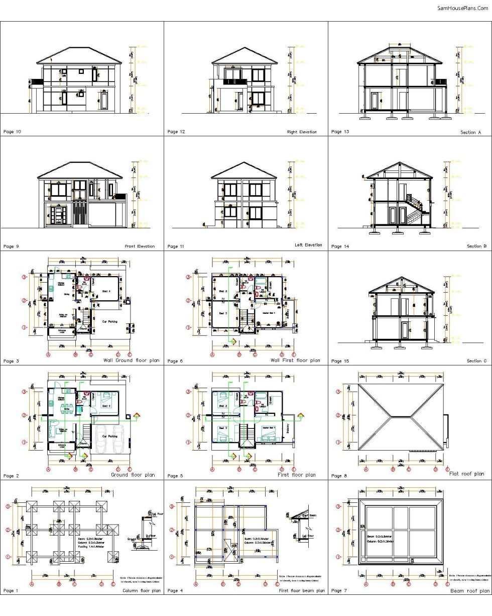 House Design Plans 10.5x8 Meters 4 Bedrooms 4 all