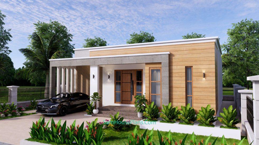 House Design Plans 11x11 meter 3 Bedrooms Front 3d 3