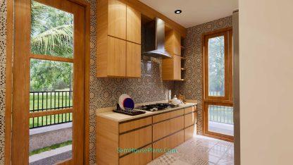 House Design Plans 11x11 meter 3 Bedrooms Interior Kitchen 1