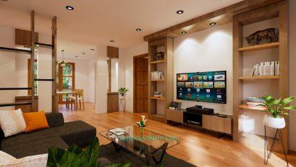 House Design Plans 11x11 meter 3 Bedrooms Interior Living room 1