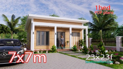 7x8M Small House Design One Bedroom Free Plans