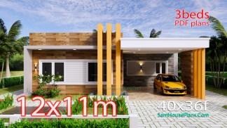 House Plans Design 12x11 M 3 Beds 40x36 Feet Terrace Roof