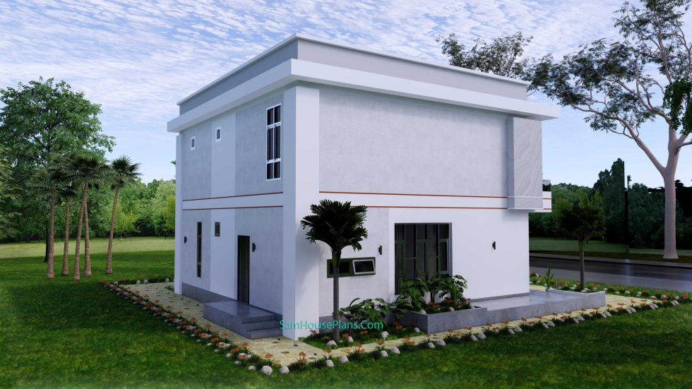 House design 12x11 M with 4 Bedrooms Pdf Full Plan Back left view