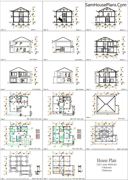 House design plans 12x11 m with 4 Bedrooms Pdf Full Plan All layout plan