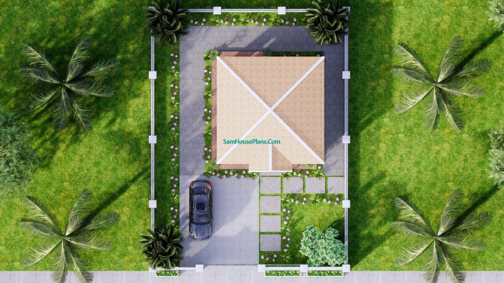 Small House Design 7x7M with One Beds Full Layout 15