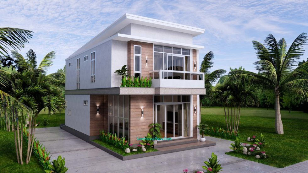 Small House Plan 6.7x10.8 meter 2 Beds PDF Full Plans Front 3d 2