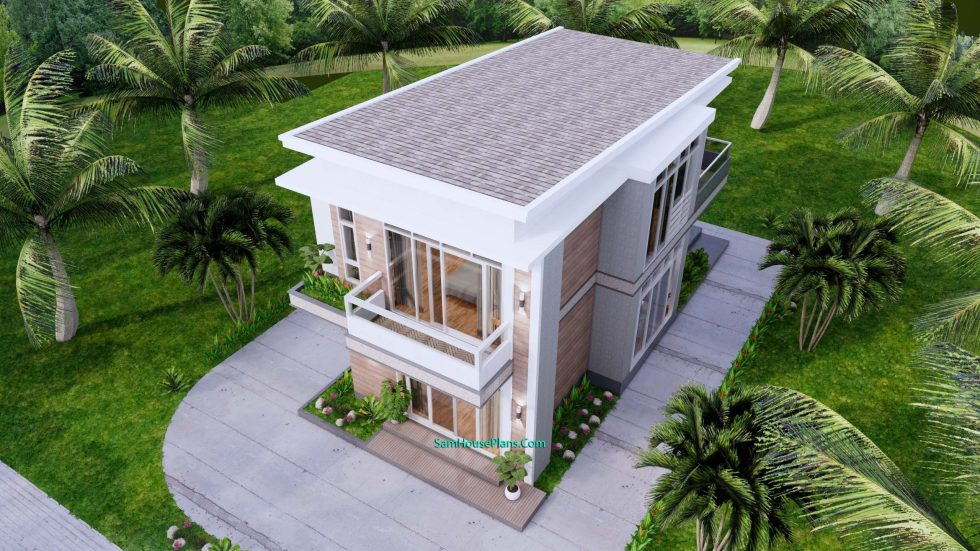 Small House Plan 6.7x10.8 meter 2 Beds PDF Full Plans Front 3d roof