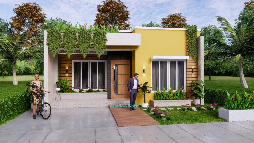 Small House Plan 8x12 M with 2 Bedrooms PDF Full Plans Front 3d 1