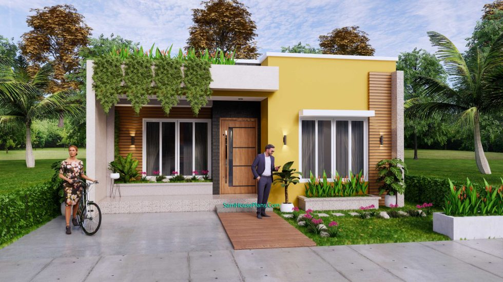 Small House Plan 8x12 M with 2 Bedrooms PDF Full Plans Front 3d 2