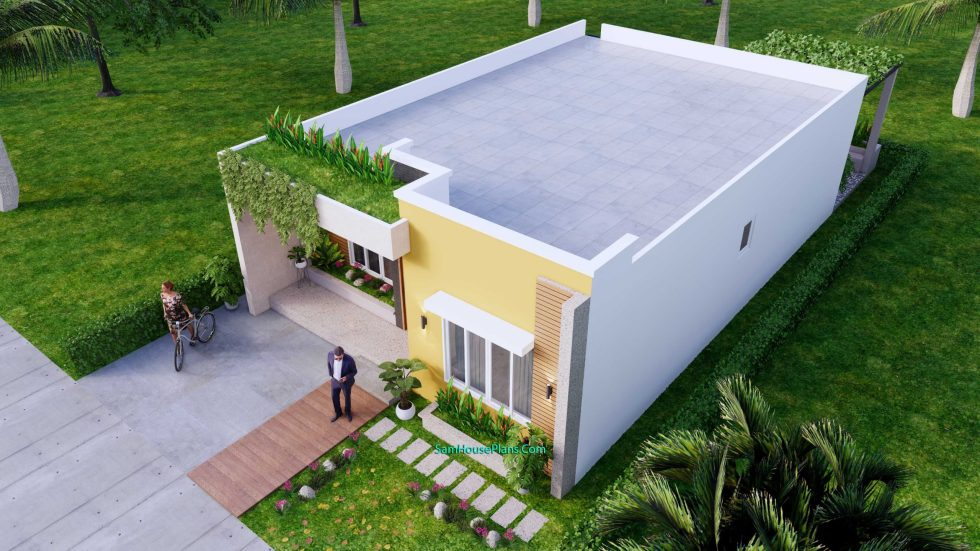 Small House Plan 8x12 M with 2 Bedrooms PDF Full Plans Front 3d 5