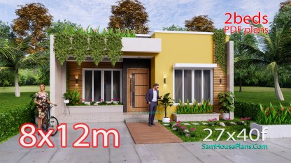 Small House Plan 8x12 M with 2 Bedrooms PDF Full Plans