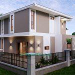 House Design Plan 11.5x9 Meter with 3 Beds Full PDF Plan Back Left 3d