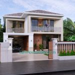 House Design Plan 9.5x11 M with 3 Bedrooms PDF Full Plans Front 3d view