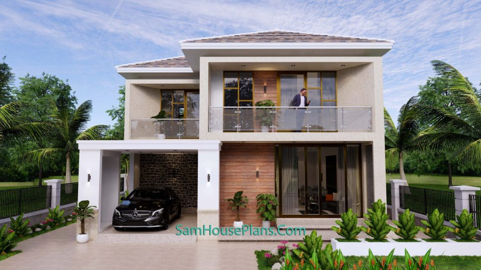 House Design Plan 9.5x11 M with 3 Bedrooms PDF Full Plans Front