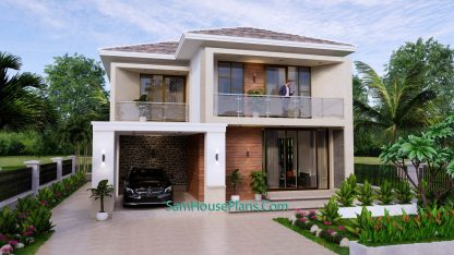 House Design Plan 9.5x11 M with 3 Bedrooms PDF Full Plans Front view