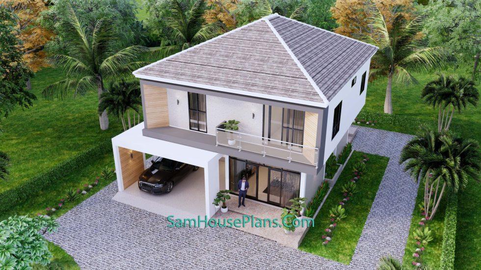 House Plans 9.5x11 Meter 3 Bedrooms Full PDF Plan top 3d