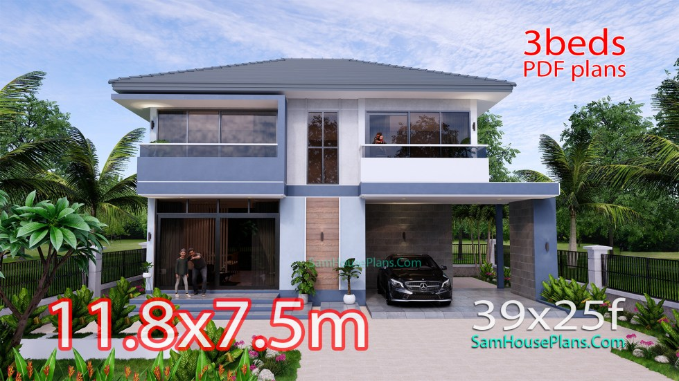 Small House Design 11.8x7.5 meters with 3 Beds Full PDF Plan